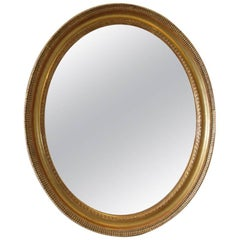 19th Century French Ripple Style Oval Mirror with Mercury Plate