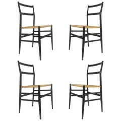 Set of Four Gio Ponti Superleggera Chairs for Cassina, Italy