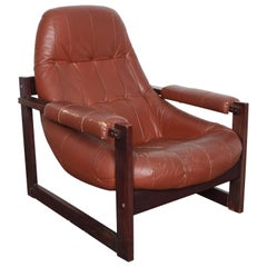 Percival Lafer MP-167 Brazilian Lounge Chair In Original Brown Leather