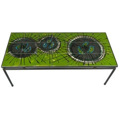 Modern 1960s Ceramic Tile and Iron Table by Juliette Belarti
