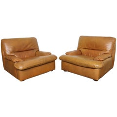 Pair of Leather Lounge Chairs by Gerard Guermonprez
