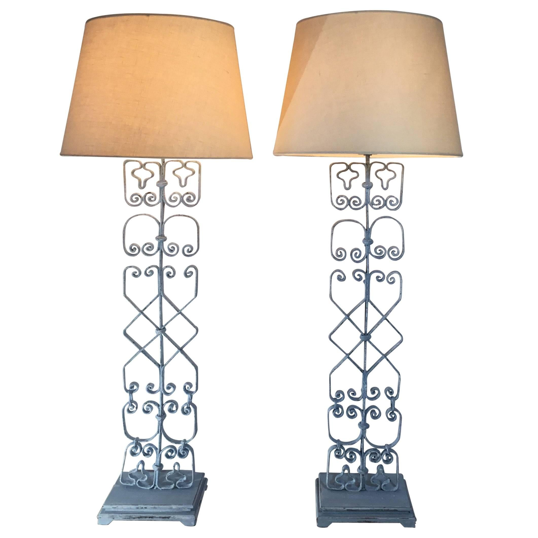 Pair Of Wrought Iron Table Lamps 1