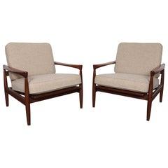 """Pair of Erik Wørts Midcentury Wood Framed """"Kolding"""" Lounge Chairs"""