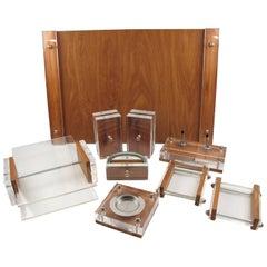 Ritts Co, LA Modernist Lucite and Oak Astrolite Desk Set Accessory - 9 pieces