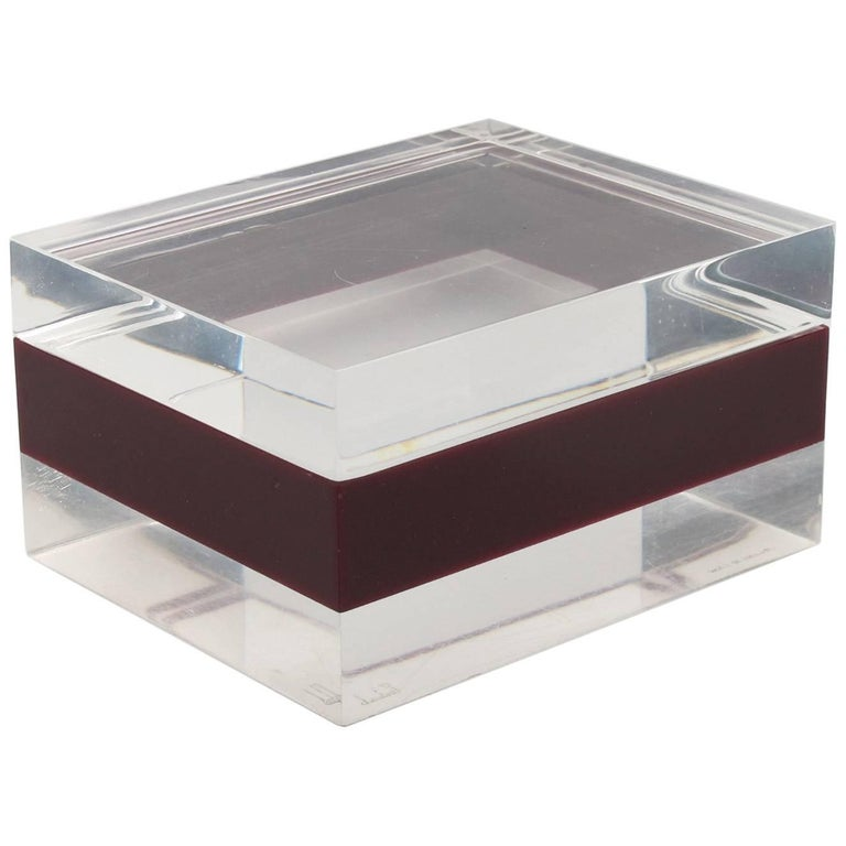 Mid-Century Modern Clear and Cranberry Lucite Lidded Box by Dunhill, circa 1970s