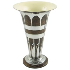 Art Deco Dinanderie Uplight Table Lamp by Lucien Gerfaux, France, circa 1930s