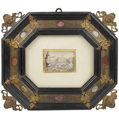 17th Century, Italian Bronze and Stone Renaissance Frame Jacques Callot Etching