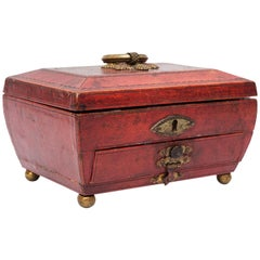 Georgian Moroccan Red Leather Jewelry Casket