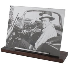 Art Deco Picture Photo Frame Wood and Chrome Long Stick Accents, 1930s