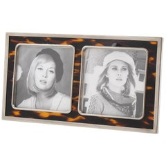 Tortoise-Like Celluloid and Chrome Picture Photo Frame, circa 1925