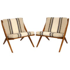 "Pair of Teak ""Scissor"" Lounge Chairs by Folke Ohlsson for DUX"