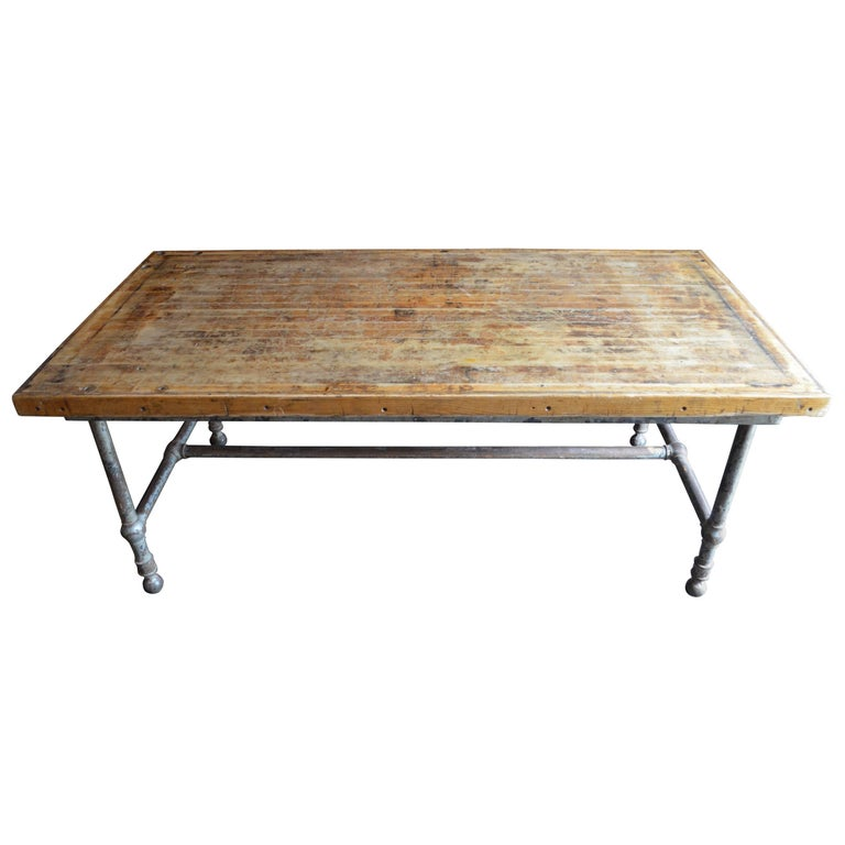 Kitchen Island Frame: Dining Table/Kitchen Island From Restaurant With Oak Top And Steel Frame For Sale At 1stdibs