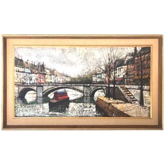"Midcentury Painting ""View Canal St. Martin"", in the Style of Bernard Buffet"