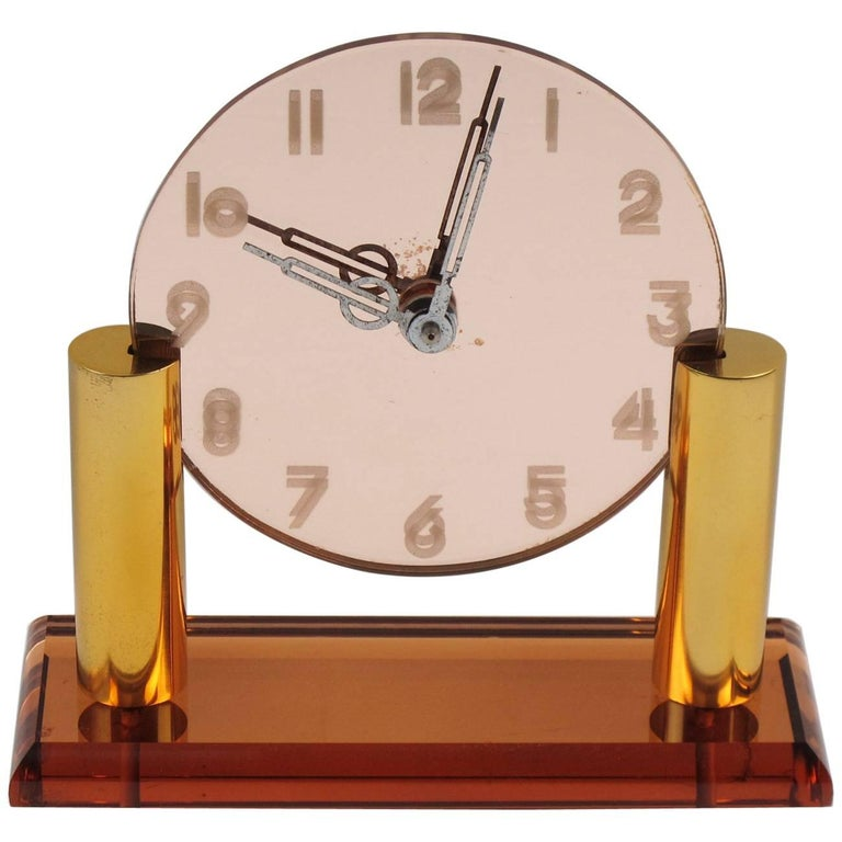 French Art Deco Copper Mirror Peach Glass and Brass Table Desk Vanity Clock