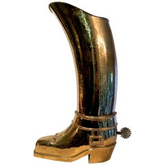 French Solid Brass Riding Boot Umbrella Stand