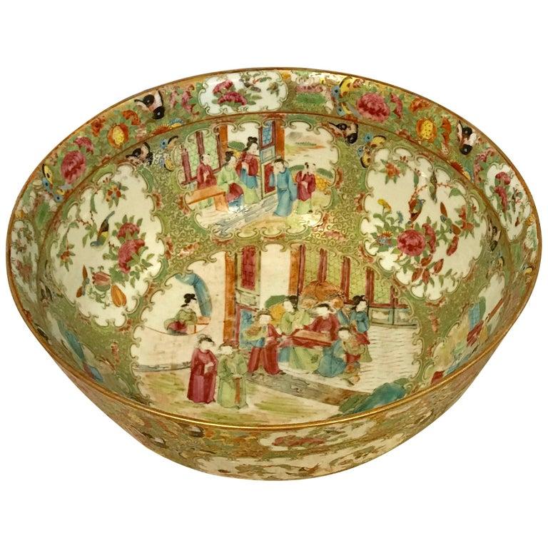Large 19th Century Chinese Rose Medallion Bowl