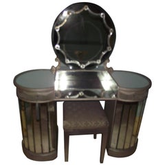 Art Deco Vanity, Mirrored Glass with Stool, Art Deco Mirror Dressing Table