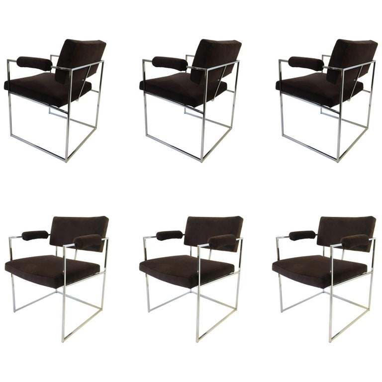 Set of Six Chrome Armchairs by Milo Baughman for Thayer Coggin