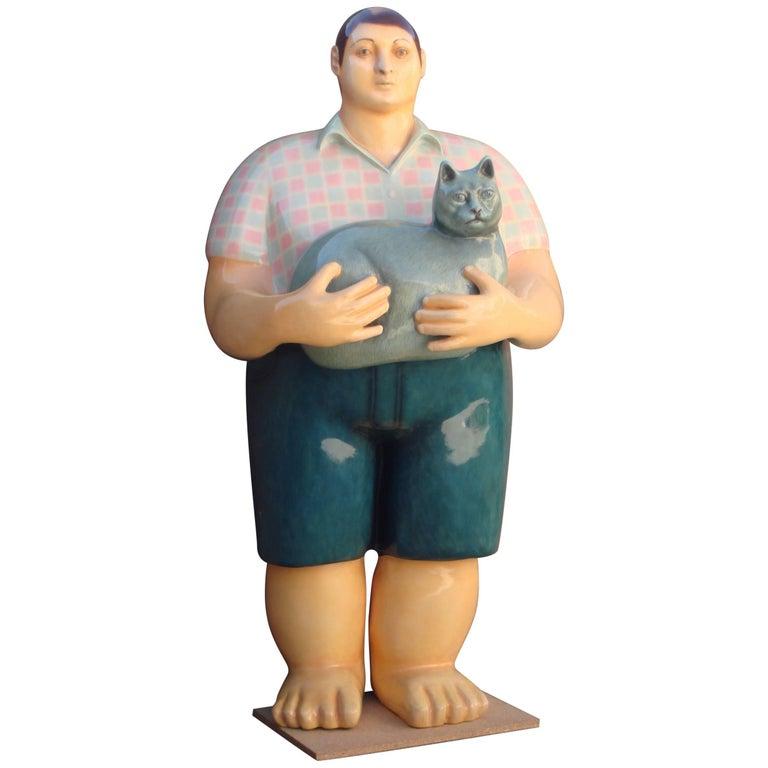 Signed Sergio Bustamante Papier Mâché Boy with Cat Sculpture For Sale