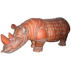 Signed Brass and Copper Rhino by Mexican Artist, Sergio Bustamante