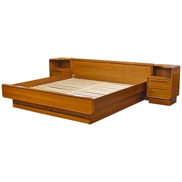 platform bed with nightstand. Scandinavian Modern King Teak Platform Bed With Nightstands For Sale Nightstand K