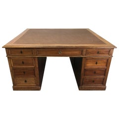 Georgian Mahogany Partners Desk with Leather Top