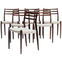 Set of Six Niels O Moller Model #78 Rosewood Dining Chairs, Denmark, 1960s