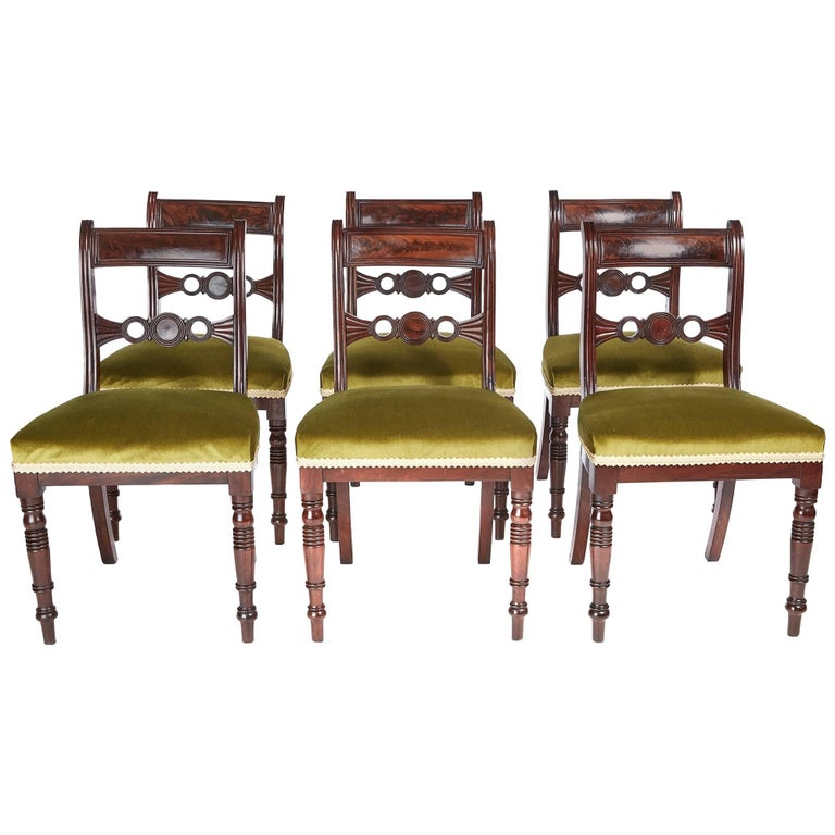 Fine Set of Six Regency Mahogany Dining Chairs For Sale