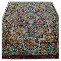 Homayun Hand-Knotted Silk Persian Tabriz Rug/Carpet