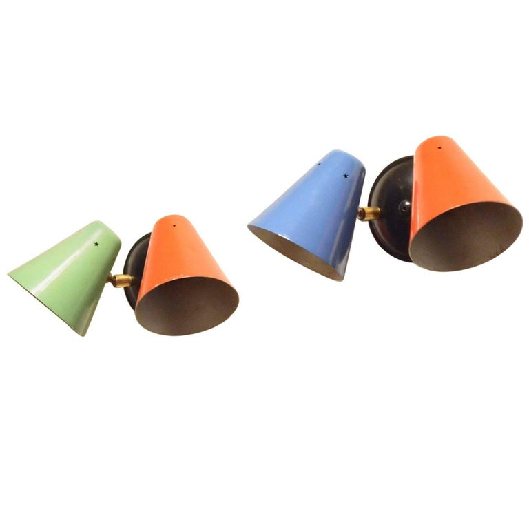 Metal Shaped Wall Lights : Two Midcentury Italian Modernist Colorful Cone Shaped Metal and Brass Wall Sconces For Sale at ...