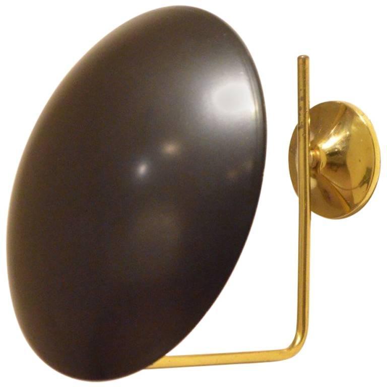 Minimalist Italian Midcentury Round Black Metal Shaded Brass Wall Arm Lamp