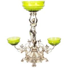 Antique WMF Art Nouveau Centrepiece Jade Green Glass, circa 1890