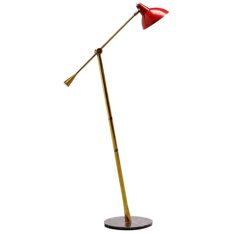 Stilnovo Floor Lamp with Marble Base, Italy, 1950