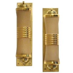 Two French 1930s Art Deco Glass and Brass Cylinder Shaped Wall Sconces Lamps