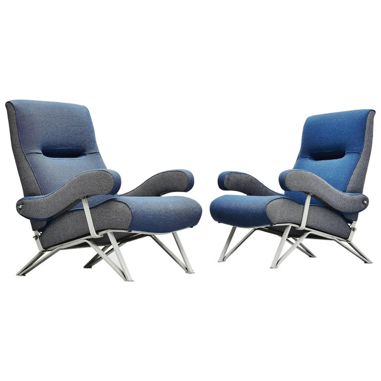 Gianni Moscatelli Adjustable Lounge Chairs Formanova, Italy, 1959