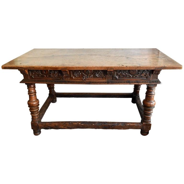 17th Century North Spanish Three-Drawer Walnut Table