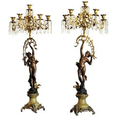 19th Century Pair of French Empire Bronze Figurine and Gilt Bronze Candelabra