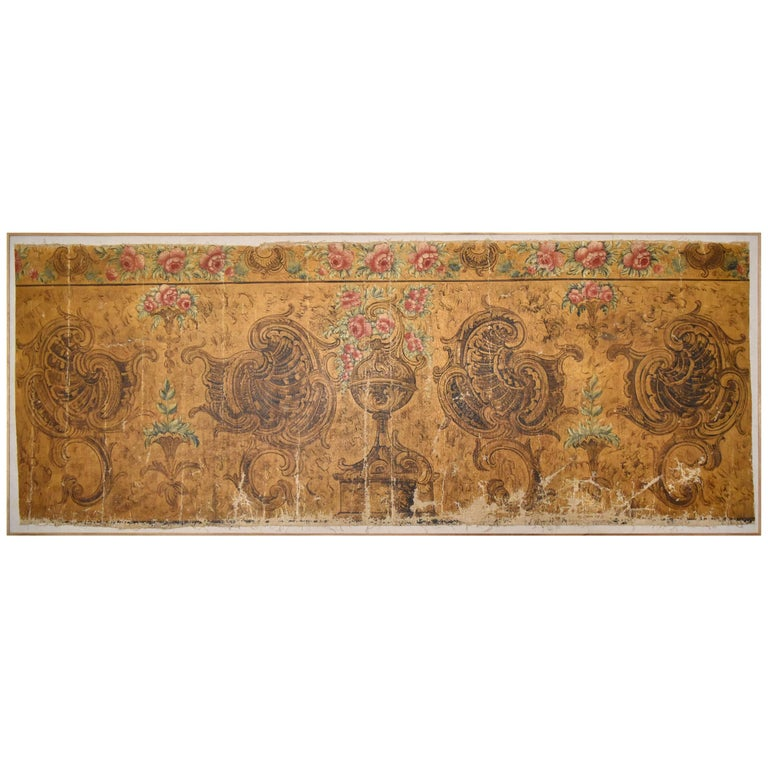 18th Century Barroque Oil on Canvas Wall Decoration