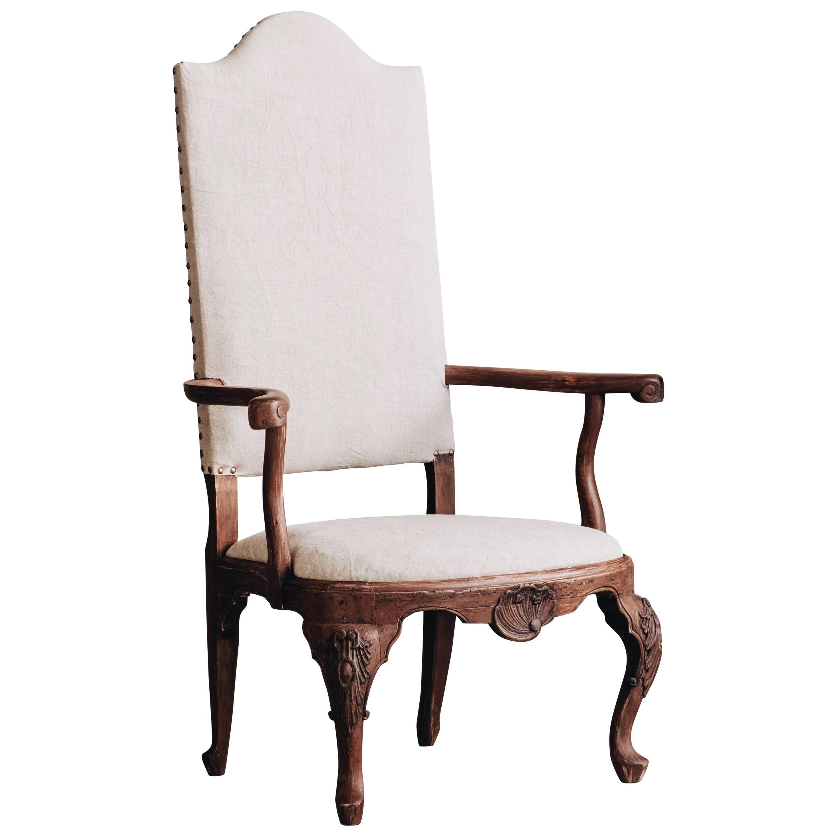 18th Century Swedish Baroque Armchair For Sale