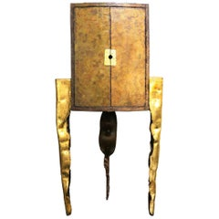 Three Legs Bar Cabinet Made in Cargo Tole with Gold Leaf