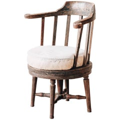 Rare 18th Century Gustavian Revolving Desk Chair