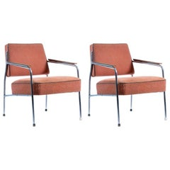 Armchairs in Chrome and Original Upholstery, Czechoslovakia, circa 1960