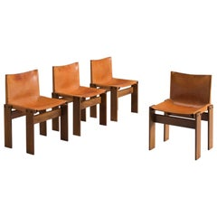 Scarpa Monk Chairs in Patinated Cognac Leather