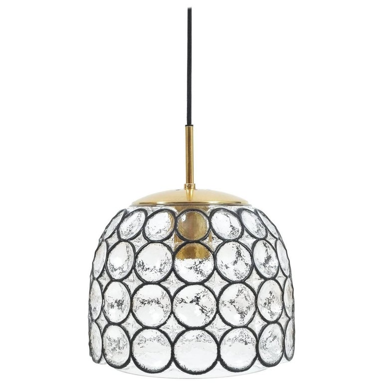 Limburg Glass and Brass Pendant Lamp Light, Germany, 1960