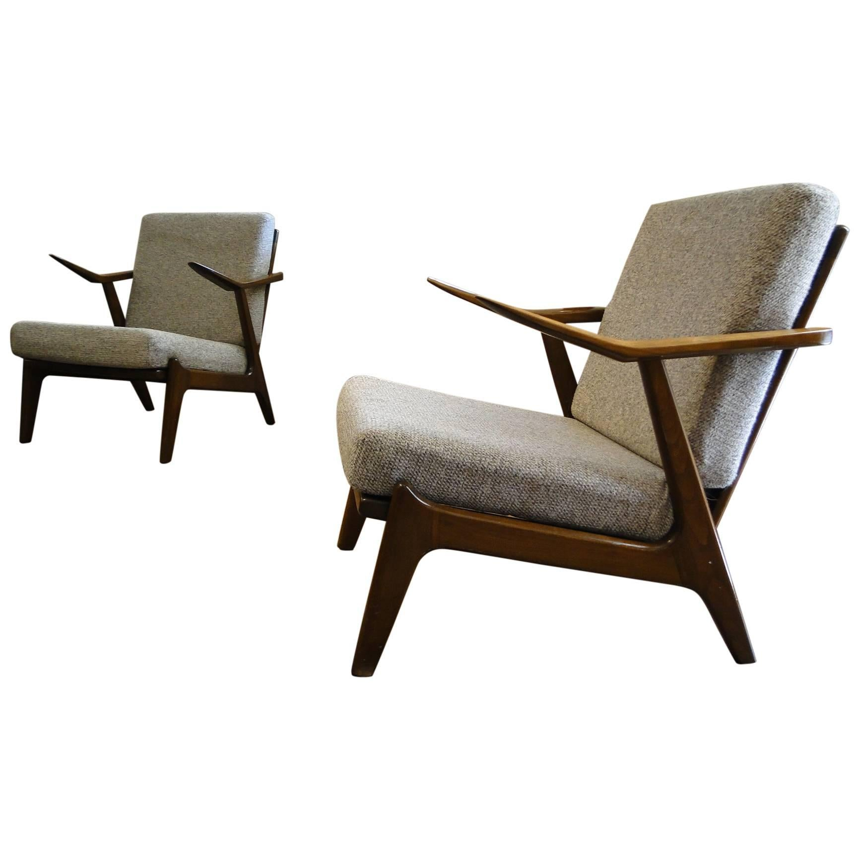 Captivating Pair Of Teak Danish Easy Chairs By H. Brockmann Petersen For Poul M. Jessen