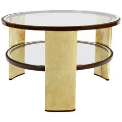 1930s Art Deco Side Table, parchment and walnut, mirrored glass. Italy