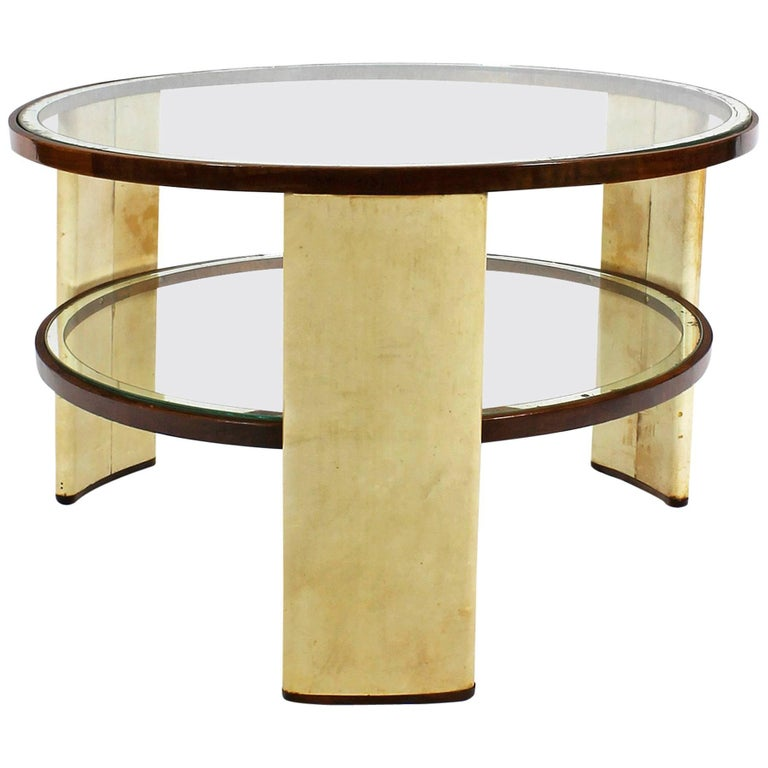1930s Art Deco Side Table, parchment and walnut, mirrored glass. Italy For Sale