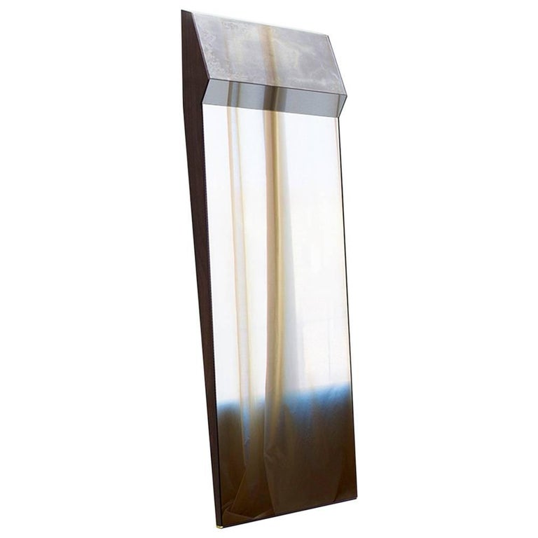 Full Length Leaning Wood Board Framed K2 Mirror Outlined in Polished Brass