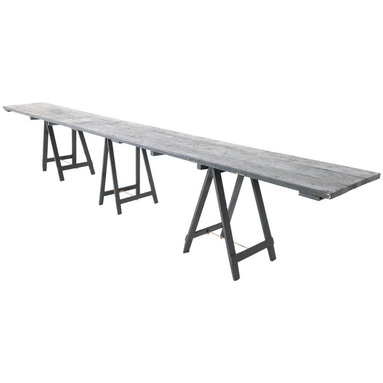 Very Large Vintage Industrial Painted Wooden Console Table, 1950s