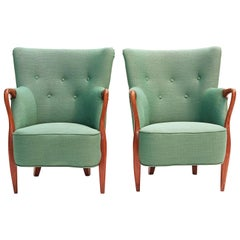 Pair of Danish Teak and Upholstered Armchairs, circa 1960